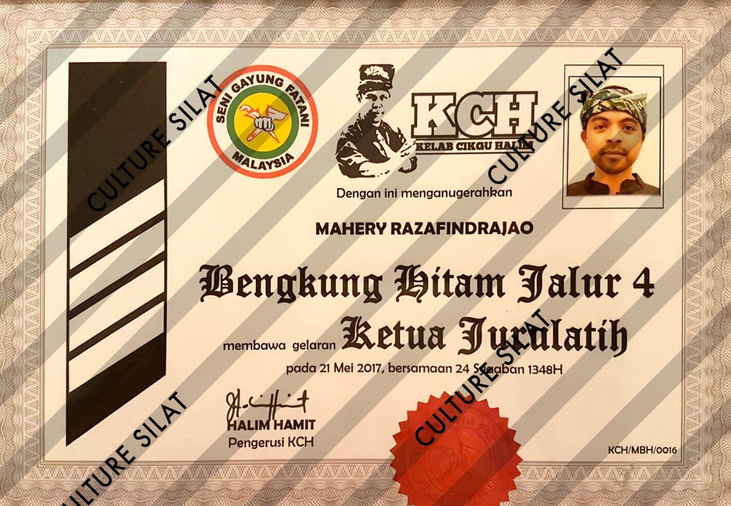 Cikgu Mahery Razafindrajao - Sijil Ketua Jurulatih
