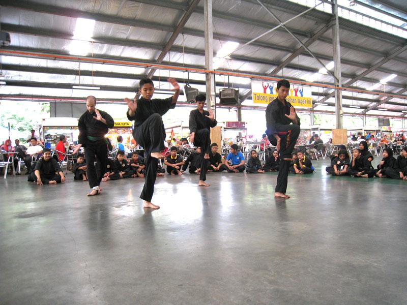 Carnet de Stage Silat Fatani 2013 - Ferhat réalise son lanka pencak silat avec d'autres élèves malais