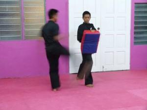 Deux élèves du KCH s'entraînent au bouclier de frappe