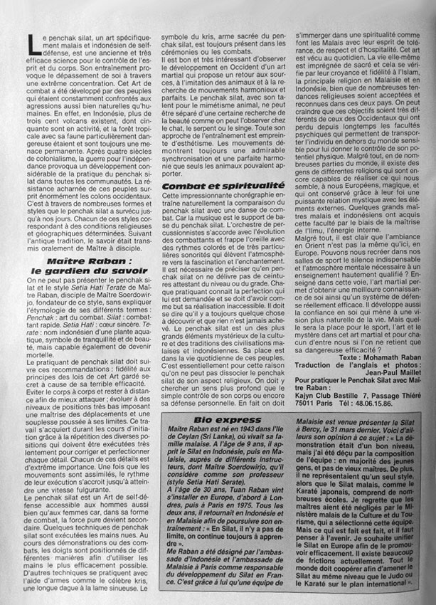 Penchak Silat - Article sur le Silat de Tuan Raban